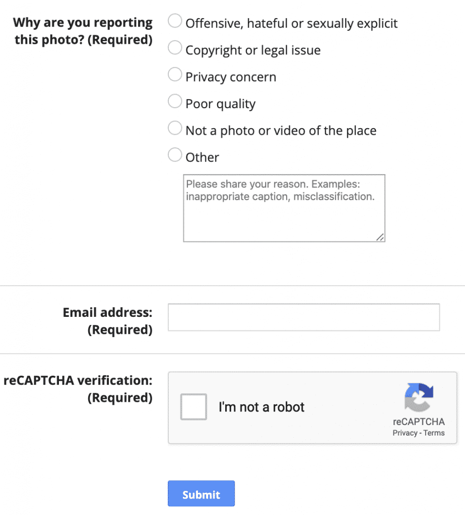 Report Form For Photos On Google