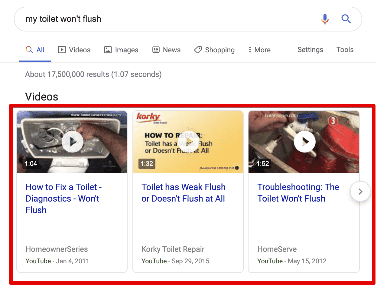 SERP results showing video carousel