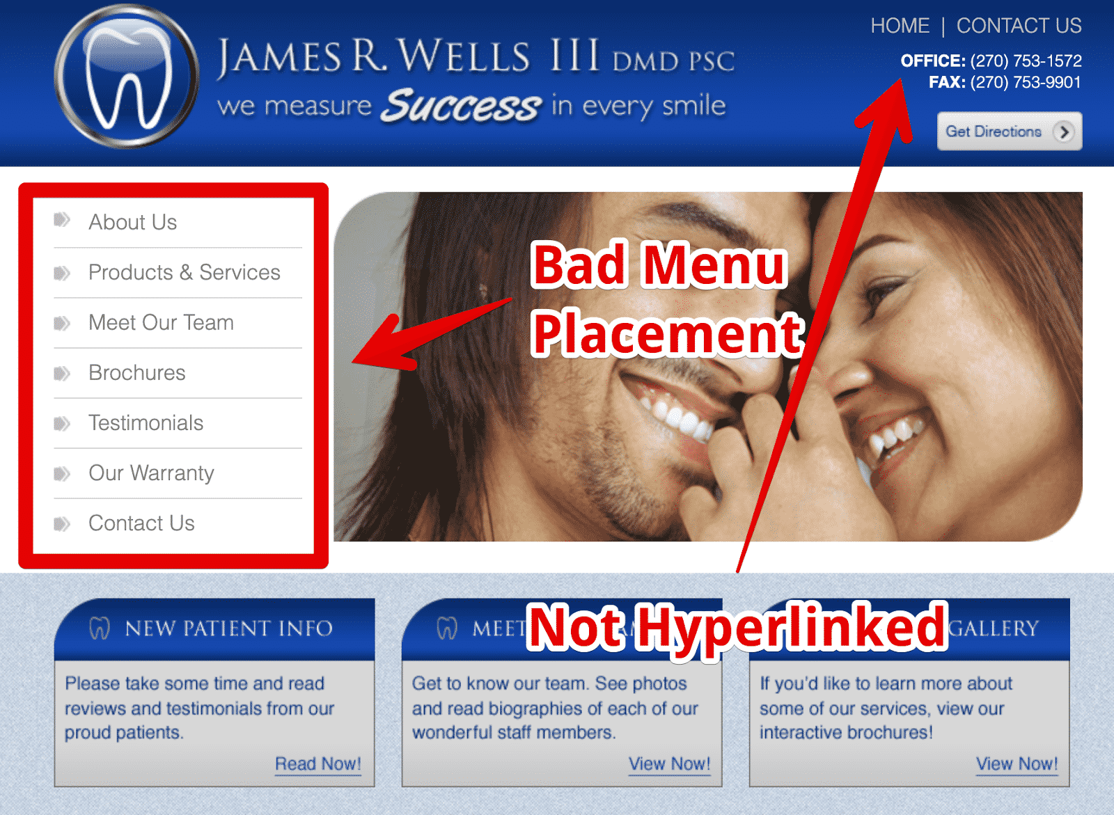 Noting UX Issues on a Dental Site