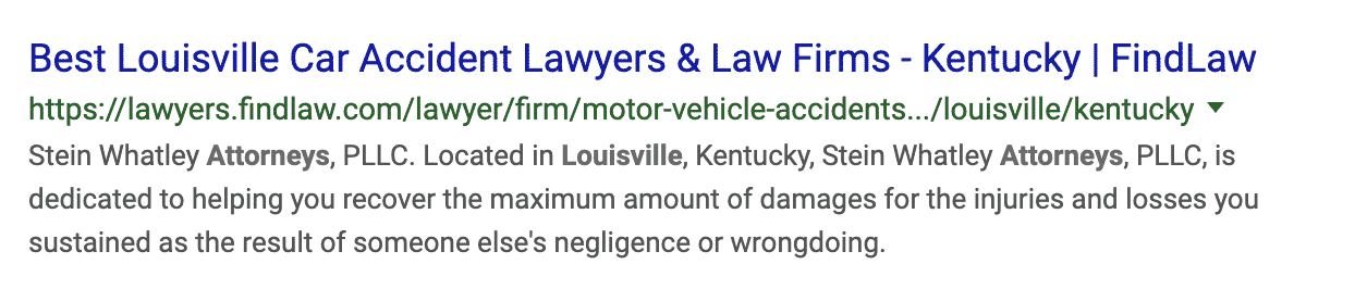 Law Firm result in the SERPs