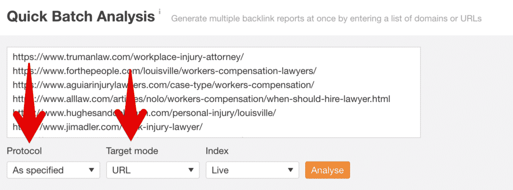 Ahrefs batch analysis for quick data collection during SERP analysis