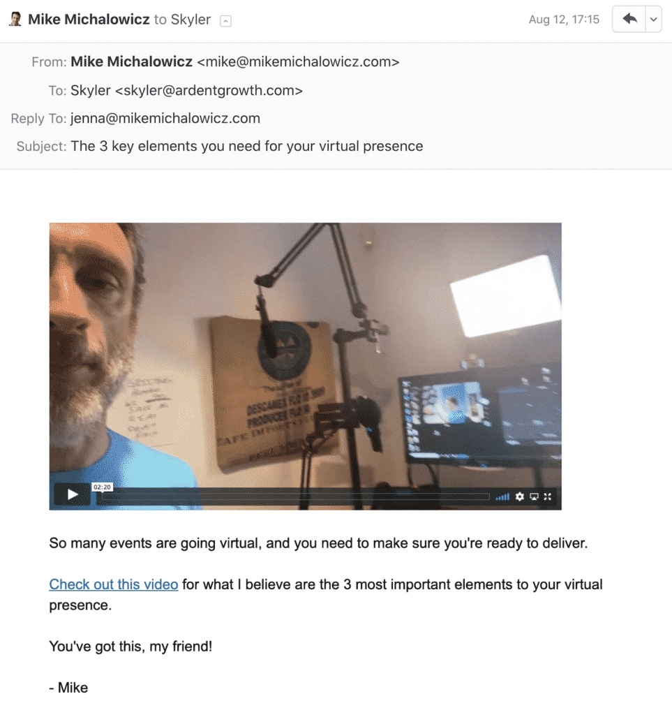 plain email with video mike