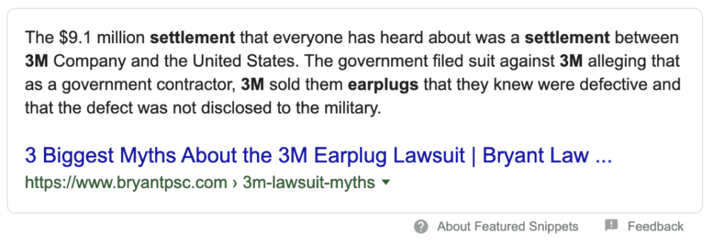 Featured Snippet for Legal Client