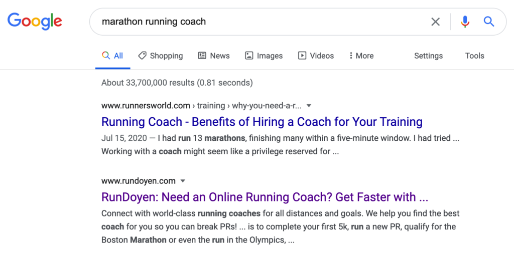 Google search results for marathon running coach