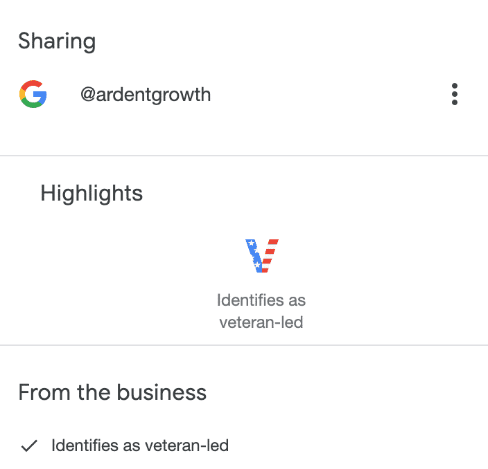 Displaying a Veteran Led Business in Google Business Listing