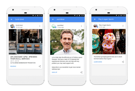 Google Post Examples on Mobile Side by Side